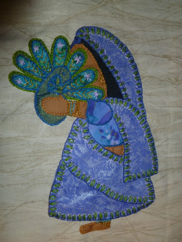 Applique Quilt -- Sunbonnet Sue joins the Foreign Service -- visits India (original design by Mona A Kuntz, April 2014, Sari with Peacock) x